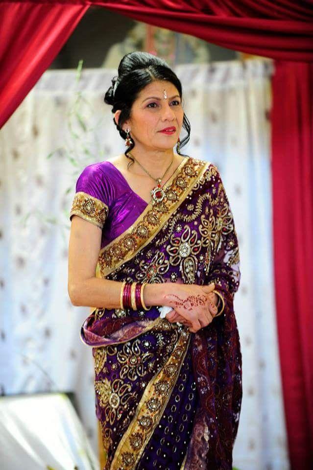 Purple & gold saree