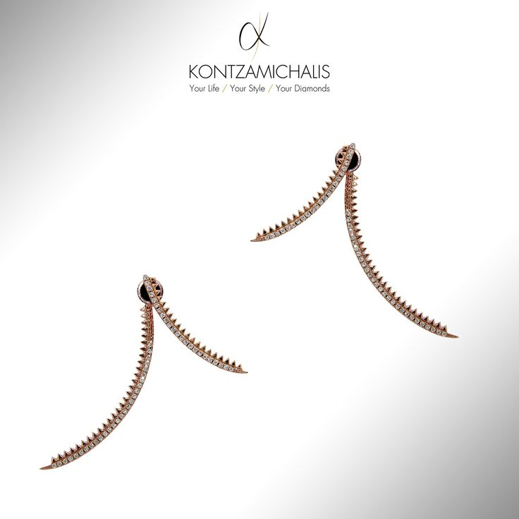 18 karats gold and brown diamonds will let you shine through these neatly shaped earrings. #KontzamichalisJewellery