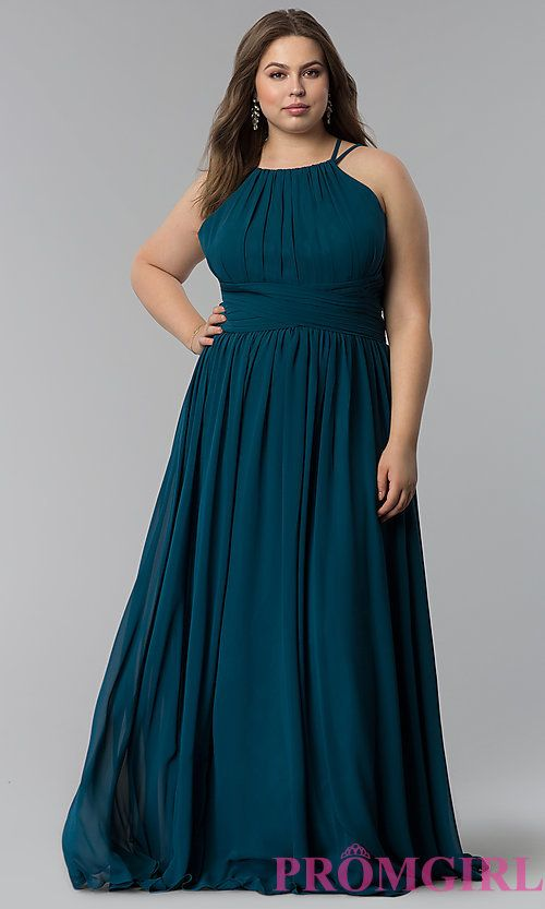 High-Neck Ruched-Waist Long Plus-Size Prom Dress | Hers | Pinterest ...