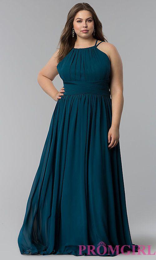 0e22d2fb45d High-Neck Ruched-Waist Long Plus-Size Prom Dress