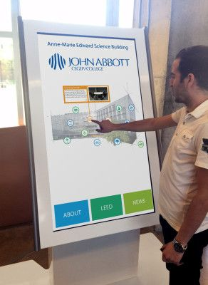 Digital kiosk at John Abbott College equipped with a custom interactive application, developed by iGotcha Media