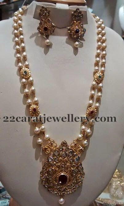 Jewellery Designs: Two Strings Pearls Polki Set