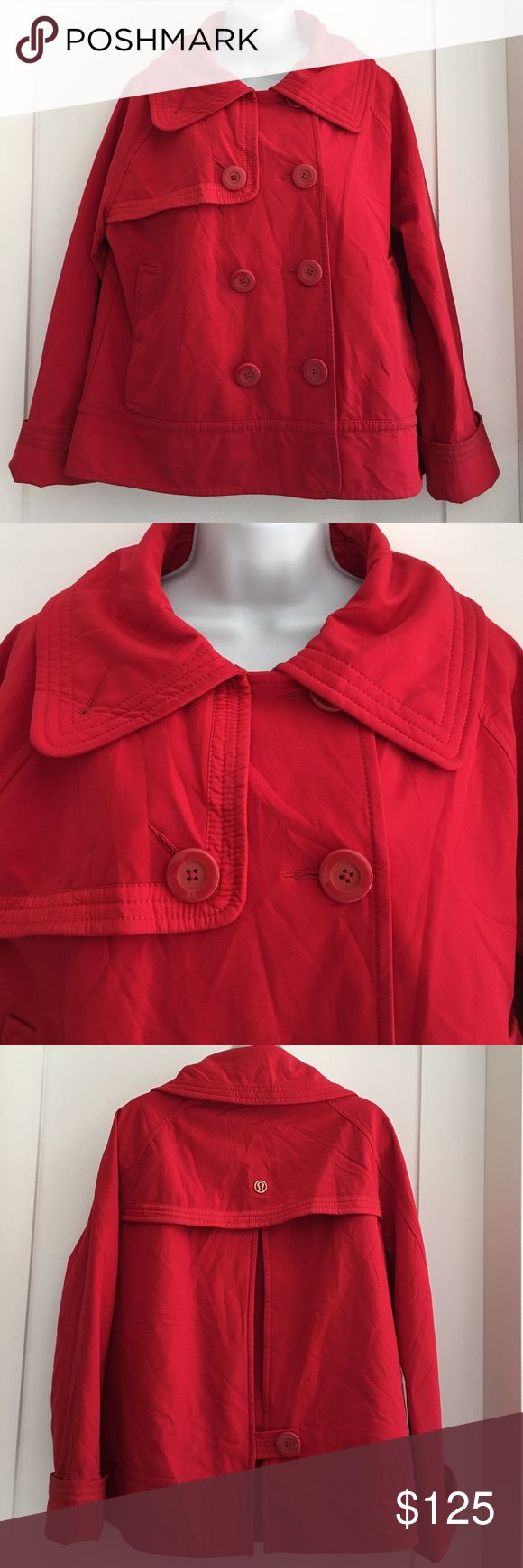 Lululemon Red Coat Jacket size 12 Preowned amazing authentic Lululemon Red Coat Jacket size 12. It is fleeced lined inside. Two outer and inner pockets. Signs. Of normal regular wear. Bright colors, no fading. Please look at pictures for better reference. Happy shopping!! lululemon athletica Jackets & Coats
