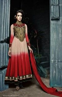 Hot Red Beige Color Dress