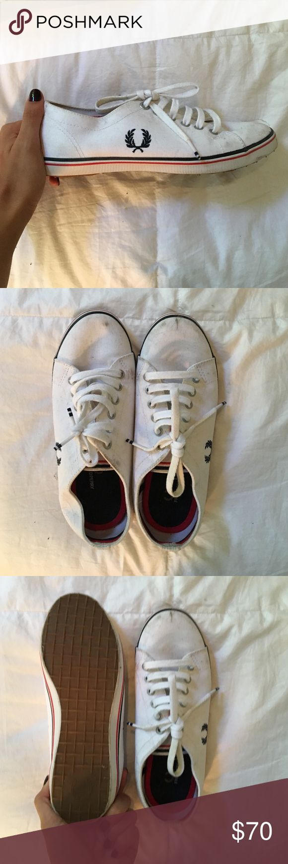 White Fred Perry sneakers Very trendy but don't fit me. I've never wit them but they got a few scuffs from sitting in my closet for so long Asos Shoes Sneakers