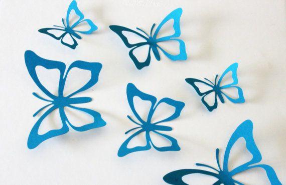3D wall butterflies - Paper butterflies - turquoise wall decor - aqua wall decor - butterfly wall decor for nursery - 3d butterfly stickers