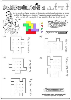 Los pentominós son geométricas planas formadas por cinco cuadrados, unidos lado a lado de todas las formas posibles. En total contamos con 12 modelos diferentes. Se trata de encontrar cinco pentominós dentro de una rejilla dada, trazando las líneas que los separan. Se trata de trabajar la geometría a la vez que …