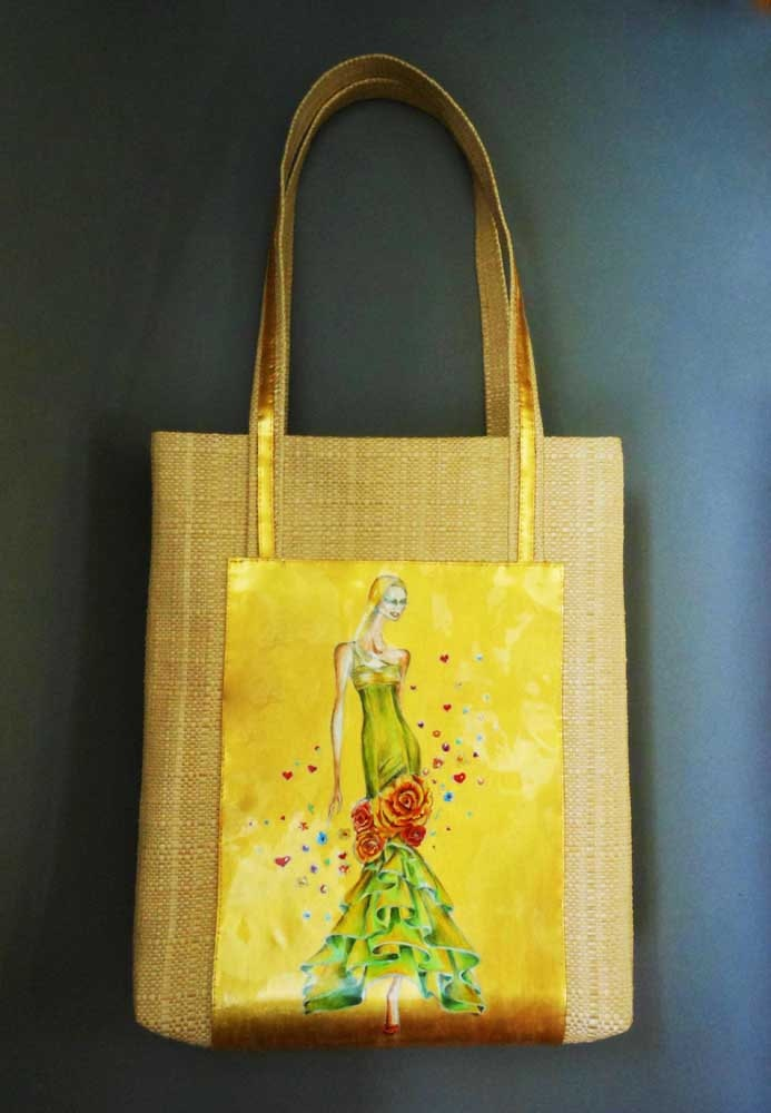 """Tote Bag--LeDiMarco Shop handmade handpainted leather messenger novelty  """"Gold Autumn"""" in BEIGE and GOLD"""