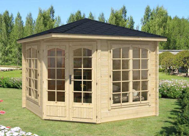 5Eck Gartenhaus Modell Josephine40 mit Anbau