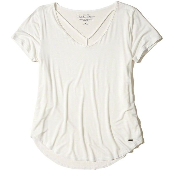 Hollister Must-Have Easy Strappy T-Shirt (19 CAD) ❤ liked on Polyvore featuring tops, t-shirts, white, curved hem t shirt, white scoop neck t shirt, white strappy top, slouchy white tee and scoop neck top