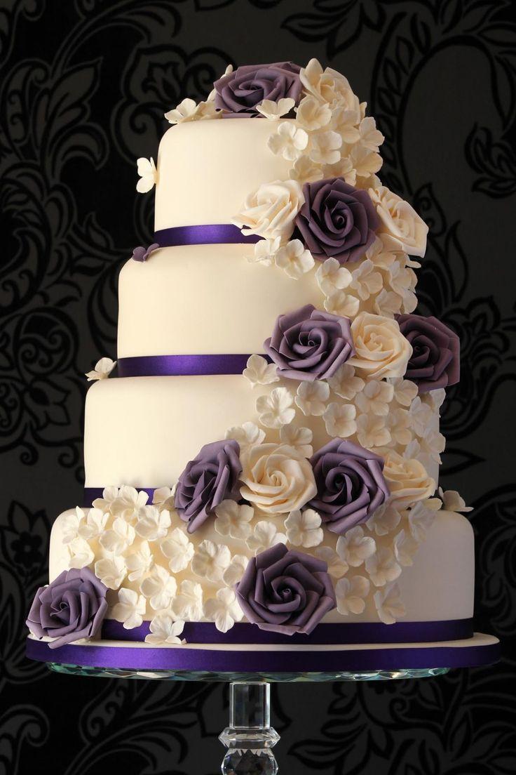 Wedding Cake: Gallery Images Of Amazing Wedding Cakes Ever Made, Beautiful Four-Tiered Wedding Cake with Amazing White Purple Roses Decorati...