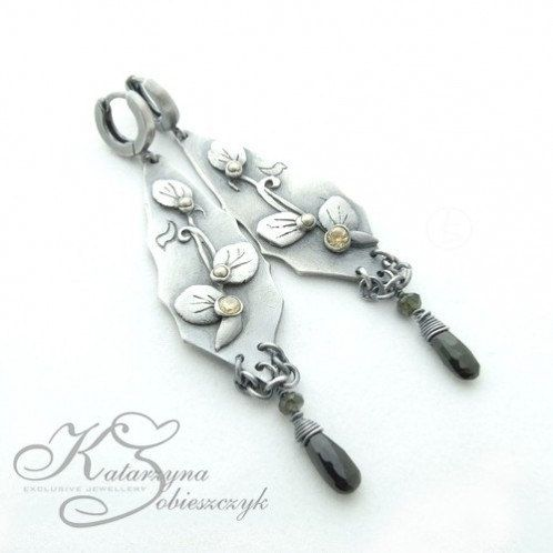 Heperia  silver earrings with dangling by kasiasobieszczyk on Etsy, $100.00