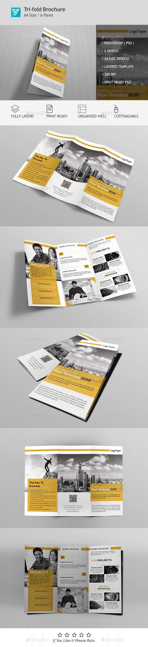 Corporate Tri-fold Brochure Template PSD #design Download…