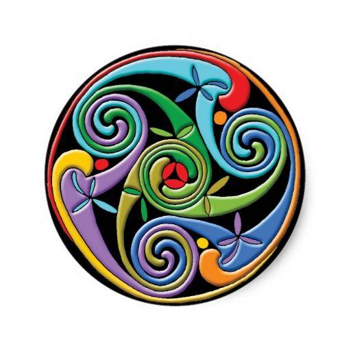 Mooie Keltische Mandala met Kleurrijke Wervelingen Ronde Stickers