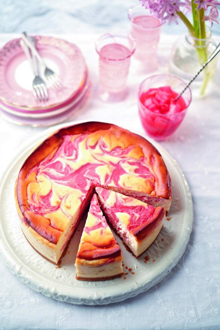 The tart rhubarb curd rippled through creamy lemon baked cheesecake looks and tastes absolutely gorgeous.