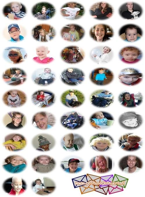 Wauw, wat een goed initiatief zeg!!!  1 kaart per week, 1 kaart per  2 weken of 1 kaart per maand sturen naar één van deze kinderen omdat ze moeten knokken om beter te worden.