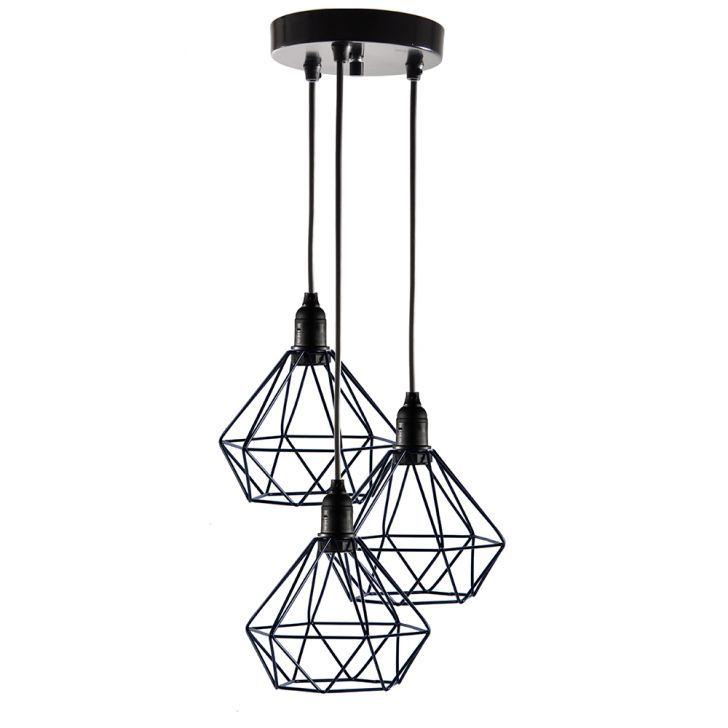 Pendente Aramado Diamante - PRETO - Design Estilo Industrial
