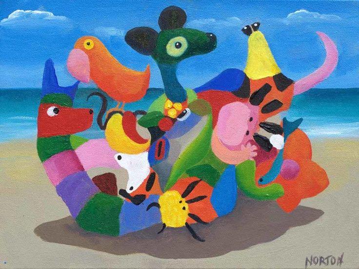 Helen Norton - Beach Party - Acrylic on Canvas - Colourful - Art for Sale