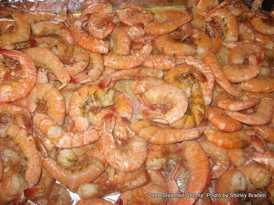 Oven-Steamed Shrimp is so easy and sooo good! Usually cooks in 12 minutes or less, depending upon size of the shrimp.
