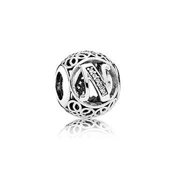 Letter A To R 100% S925 Silver Bead VIntage A To R Silver Charm With Clear Zircon Fits Pandora Snake Bracelet Diy Jewelry making