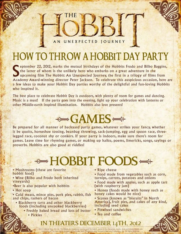 How To Throw The Best Hobbit Birthday Party...I MUST HAVE ONE THIS YEAR. NO IFS ANDS OR BUTS
