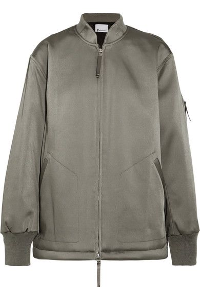 T by Alexander Wang - Oversized Satin Bomber Jacket - Gray green - US4
