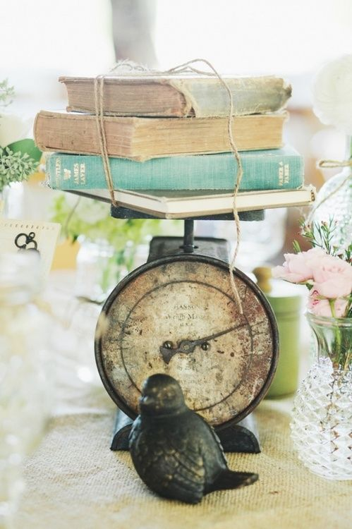 vintage books on an antique scale, this as centerpiece idea!
