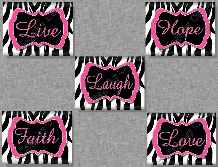 Best Hot Pink Zebra Print Faith Hope Live Love Laugh Quote Art Girl Room  Wall Decor With Zebra Print Bedroom Decor