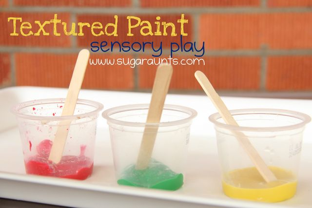 Textured paint #sensory play. Mix texture into paint for a crumbly sensory texture.  By #TheSugarAunts