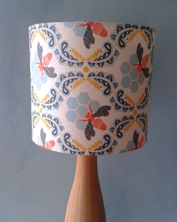I'm obsessed with these lamp shades!  Sweet As Honey  fabric covered lamp shade by Lightflightlighting