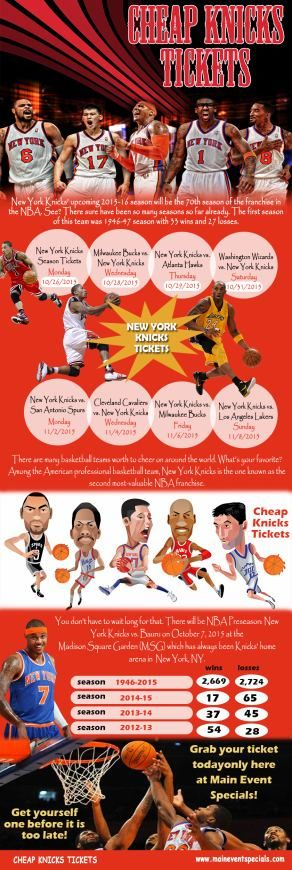 Click this site http://maineventspecials.com/cheap-new-york-knicks-tickets-and-schedule/ for more information on New York Knicks Schedule. Knicks' regular season from 1946-2015 has brought it 2,669 wins and 2,724 losses. Meanwhile, the postseason one has brought it 185 wins and 188 losses. The all-time records show that New York Knicks Schedule has been grabbing 2,854 wins with 2,912 losses so far. It still did offer amazing matches to see for it has always been trying to do so.