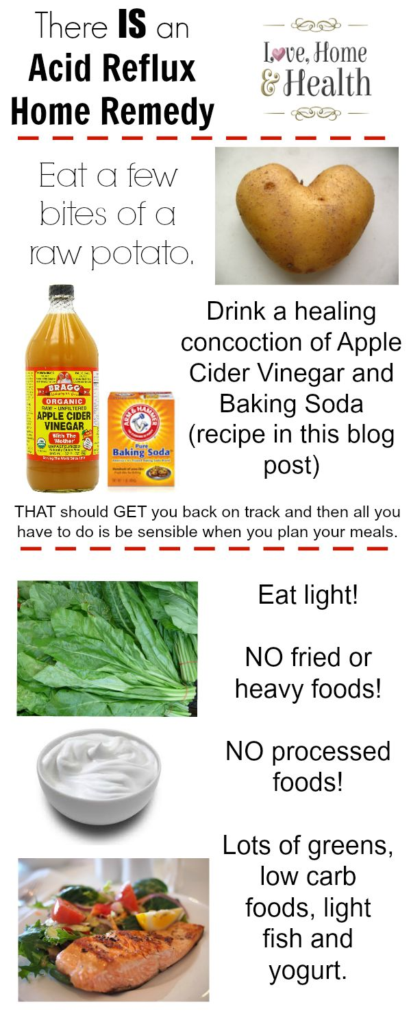 Acid Reflux, Home Remedies, Natural Cures, Apple Cider Vinegar An Acid Reflux Home Remedy that Works! Learn what potatoes, baking soda and apple cider vinegar can do to relieve your Acid Reflux and Heartburn Symptoms!