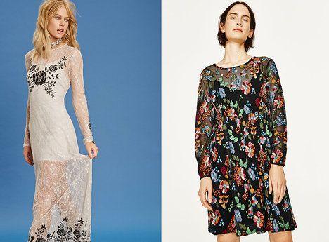 r. 2017 - Na foto (zleva): bílé maxi šaty, Forever 21, 750 Kč, s výšivkou, Zara, 1599 Kč; archiv firem