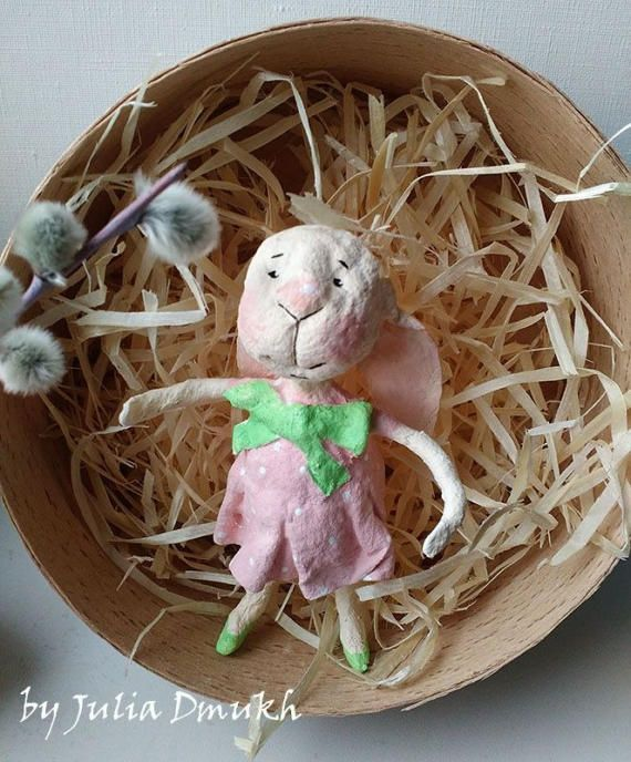 Cotton spun Easter ornament OOAK Art doll Easter ornaments Sunny Easter rabbit Collectibles art doll Batting doll Cotton figurines Cotton spun ornamets Vintage doll