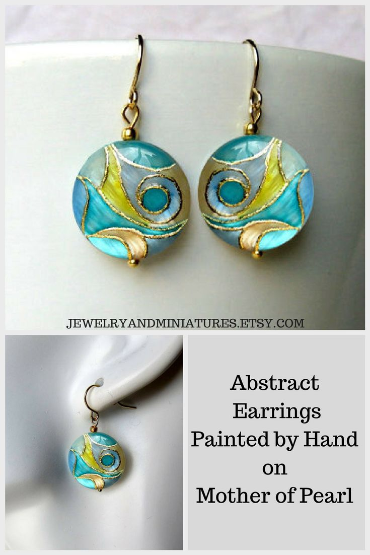 Abstract earrings painted by hand on mother of pearl #abstractjewelry #uniquejewelry #springearrings #summerjewelry #pasteljewelry#handmadejewelry