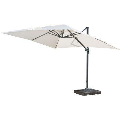 Brayden Studio 10u0027 Square Cantilever Umbrella With Base Color: Beige