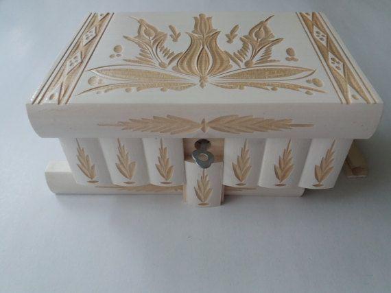 Neue große schöne weiße Premium-handgeschnitzt, handgefertigte Holzpuzzle Box, Geheimschachtel, Zauberkiste, Schmuckkästchen, Denksport, Aufbewahrungsbox, Blumenkasten