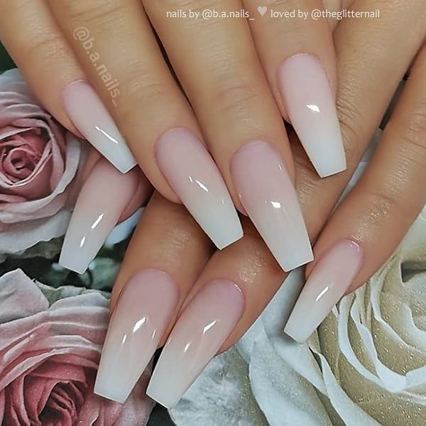French Ombre On Long Coffin Nails Nail Artis Coffin Nails Ombre Coffin Nails Long Matte White Nails