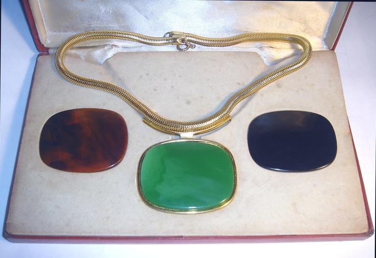 ICONIC Vintage 70's BIJOUX LANVIN Interchangeable LUCITE Tri PENDANT NECKLACE