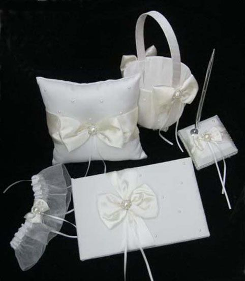 Elegant Design,White with Ivory Bowknot Wedding Ceremony Set in 5 pcs,US$56.50   Read More:    http://weddingspurple.com/index.php?r=elegant-design-white-with-ivory-bowknot-wedding-ceremony-set-in-5-pcs-w410006.html
