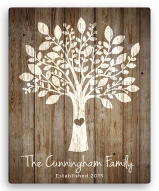 Brown Our Family Tree Personalized Canvas
