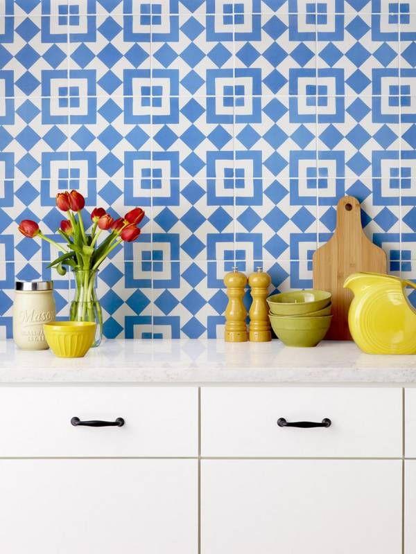 blue and white tile backsplash