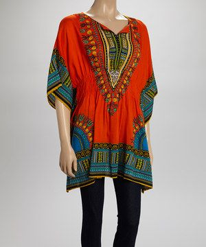 Another great find on #zulily! La Cera Orange & Green Abstract Dolman Tunic by La Cera #zulilyfinds