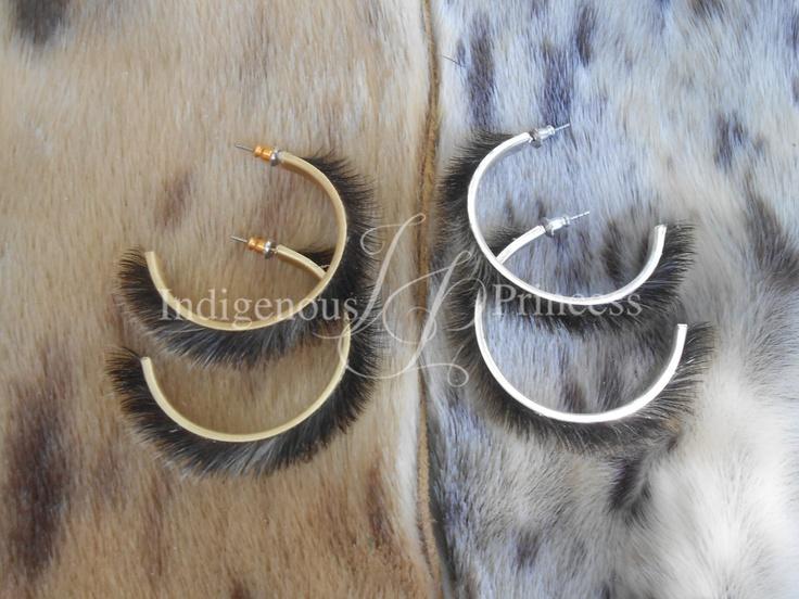 """Dark sealskin hoops with nickel-free ear posts.  The inner hoop diameter is 1 1/2""""."""