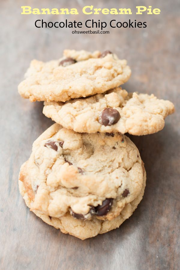 Sometimes an accident in cookie making ends up a winner! Banana cream pie chocolate chip cookies ohsweetbasil.com