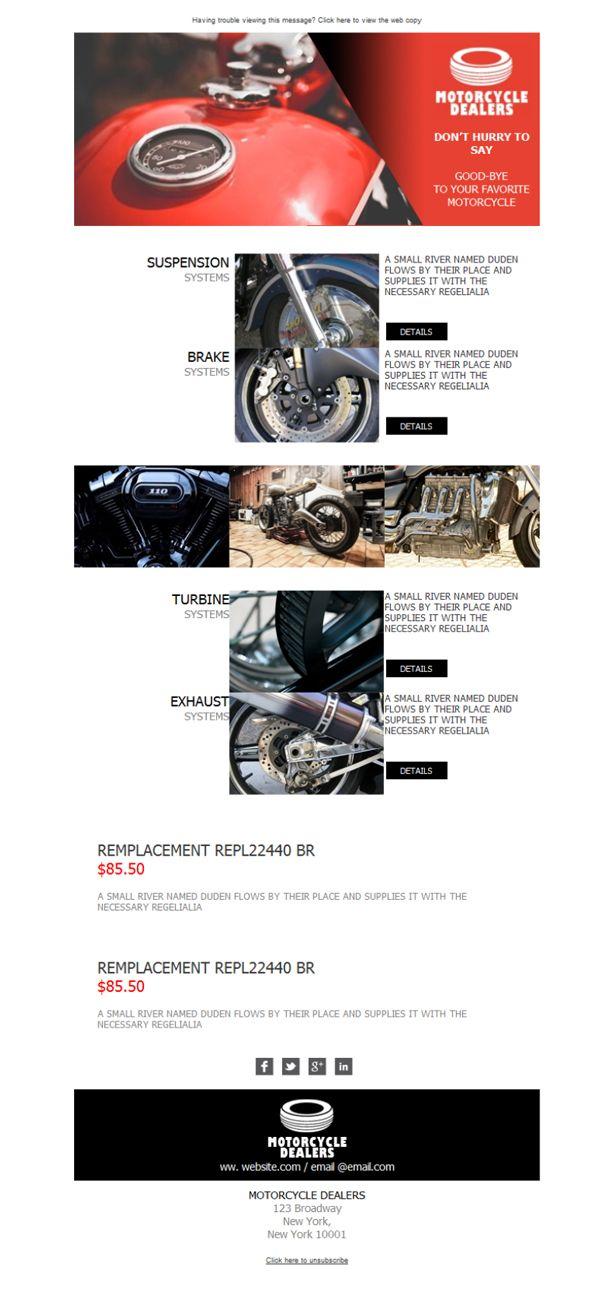¿Eres un apasionado de la doble rueda? ¿Trabajas en un concesionario de motos? No pierdas la oportunidad de enviar plantillas newsletter tan espectaculares como éstas.