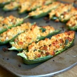 Cheddar Cornbread-stuffed Jalapenos  http://foodiesarsenal.com/cheddar-cornbread-stuffed-jalapenos/