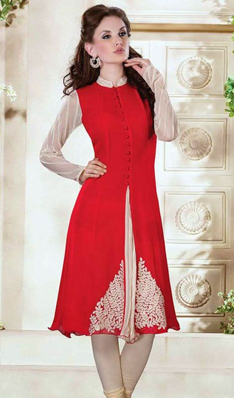 Red Embroidered Georgette Tunic Price: Usa Dollar $115, British UK Pound £68, Euro85, Canada CA$123 , Indian Rs6210.
