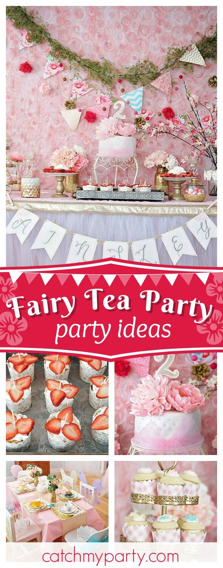 Take a look at this beautiful shabby chic Fairy Princess Tea Party! The birthday cake is so pretty!!  See more party ideas and share yours at CatchMyParty.com #fairy #teaparty #shabbychic