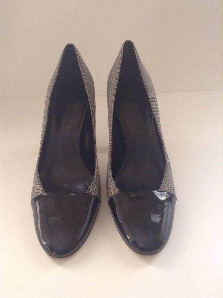 Ladies Preowned Windowpane Plaid Spectator Anne Klein 8 1/2 M High Heel Shoes #AnneKlein #PumpsClassics #Casual